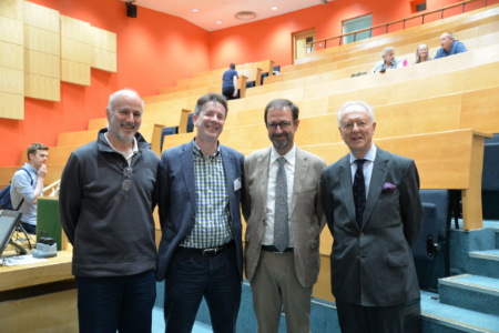 Don Porcelli, Chris Ballentine, Bernard Marty and Nikita Lobanov-Rostovsky in the Martin Wood Lecture Theatre