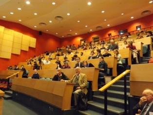Guests gather in the Martin Wood lecture theatre