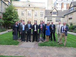 The Class of 1984 enjoying pre-dinner drinks at St Edmund Hall