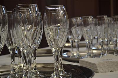 Wine glasses on trays