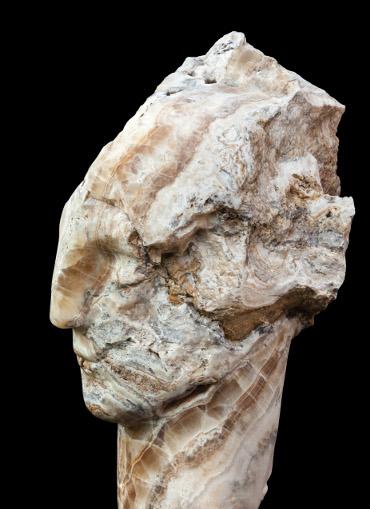 Bowman Sculpture.  Emily Young, Onyx Bird Head I, Onyx, 2015