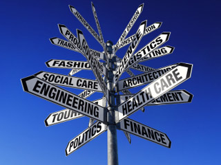 Signpost with many signs pointing in different directions to different careers